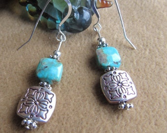 Earring made with patterned pewter square, turquoise stone on top,  all other metal, beads and earwires sterling silver, length 1 3/4 inches