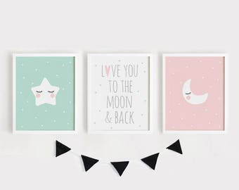 Printable Nursery Art Set of 3 / Love you to the moon and back Poster Baby Kids room wall art decor Mint Pink art INSTANT Digital print
