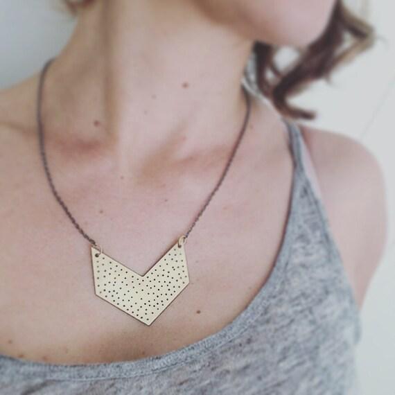Raw Brass Spotty Chevron Necklace