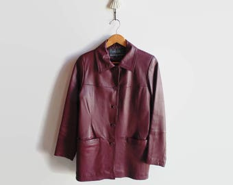 Burgundy Faux Leather Jacket for Women - 90s Vintage Clothes - Two Pockets, Size 8 USA, Womens Clothing, Casual Blazer, Drop Down Buttons
