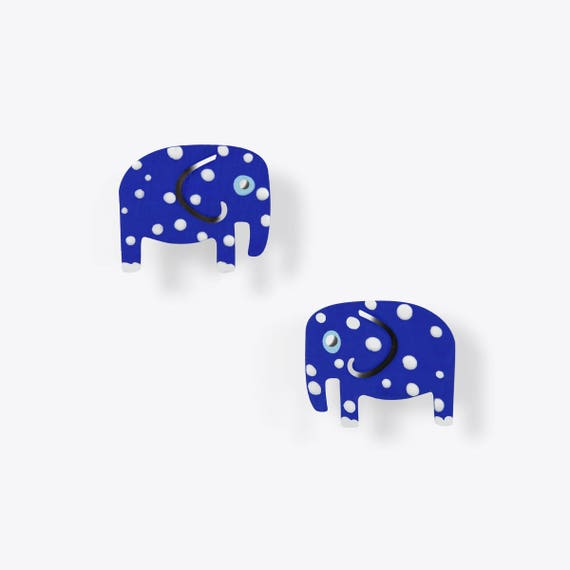 Blue Polka Dot Elephant Earrings