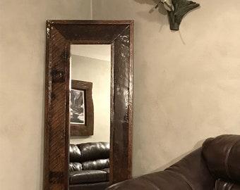 Reclaimed Oak Barnwood Full Length Standing Mirror