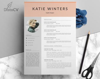 CV Resume With Photo, Professional Resume Template, CV Template, Cover Letter, Word Resume, Instant Download, MS Word, Disto Cv