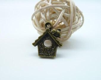 20pcs 11x12mm Antique Bronze Mini Bird On The House Charm Pendant c111-2