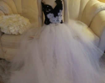 Black & White Corset Tulle Crystal Sequin Lace Vintage Victorian Inspired Bridal Wedding Ball Gown