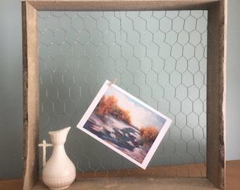 Chickenwire Chicken wire Shelf Box Wall Memo Board Home Decor Rustic Rough Wood Shelf