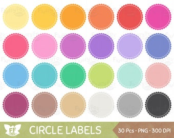 Circle Label Clipart, Circular Frames Clip Art, Banner Tag Circles Blank Badges Design Rainbow Graphic PNG Download, Commercial Use