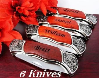 Six Groomsmen Engraved Pocket Knife  - Groomsman Best Man Ring Bearer Gift