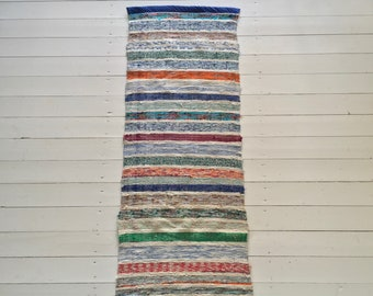 Vintage Swedish Rag Rug in Pale Blues,Greens and Colored Stripey Rag Rug Runner Upcycled 1930s Floor Cover European Interior Antique