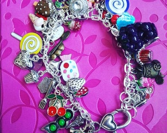 LAST ONE ,Limited edtion,Tuttifrutti, I love food, ice cream, cake, fruit, tea party, mix colour, charm Bracelet, by NewellsJewels on etsy