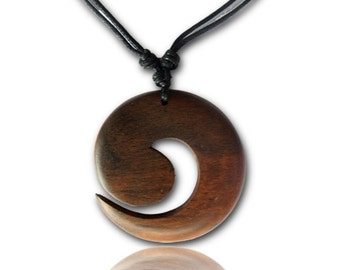 Necklace sono wood spiral pendant Brown 3.7 cm adjustable cotton chain (KH-55)