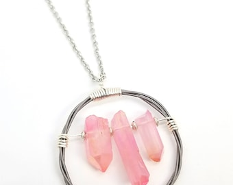 Silver Guitar String and Pink Quartz Crystal Pendant Necklace | Recycled Guitar Strings | Crystal Necklace