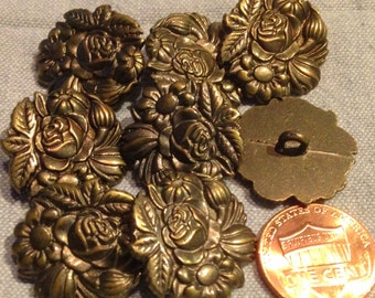 "8 Antique Brass Tone Metal Shank Buttons Flower Floral 7/8"" 23mm # 7974"