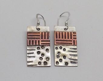 Mixed metal jewelry sterling copper  earrings. Steampunk jewelry earrings.