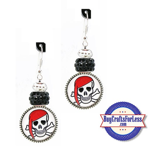 CLeARANCE **PiRATE / HALLOWEEN EARRiNGS, Glass Cabochon, Sparkle Beads, FREE Gift BoX!!  +FREE SHiPPiNG & Discounts*