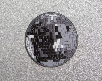 Extra Large Disco Ball Patch - Made with Vegan Iron-On Adhesive - Embroidery Sewing DIY Customise Denim Cotton '70s Glitter Dance