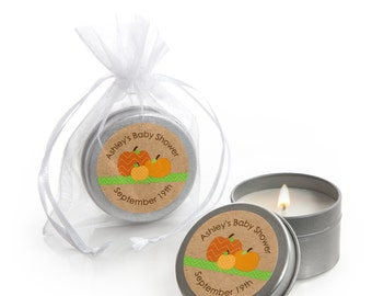 Pumpkin Patch - Candle Tin Favors - Personalized Fall or Thanksgiving Party Favors for Baby Showers or Birthday Party Supplies - 12 Ct.