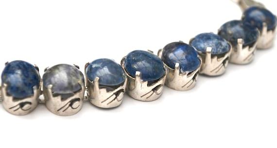 Blue Lapis sterling Link Bracelet - blue gemstone  - Tribal Persian lapis lazuli