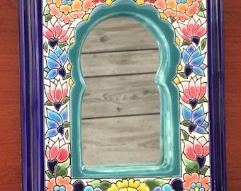 Spanish Boho Ceramic Hand Painted mirror