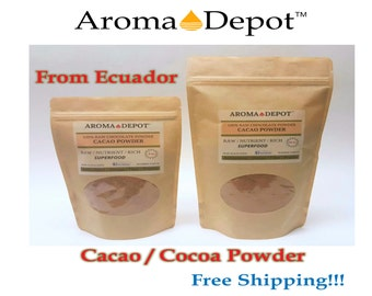 Raw Cacao / Cocoa Powder From Ecuador 100% Chocolate Natural Organic From8 oz to 1.5 lb Arriba Nacional Bean