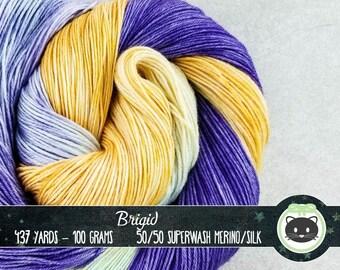 Yellow Purple Green variegated Hand Dyed Yarn, Sock Yarn, Merino Wool Yarn, Fingering Yarn, Variegated Yarn, SWM, Heirloom Luxe, Brigid