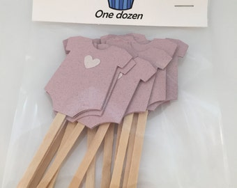 Pink Onesie Cupcake Toppers