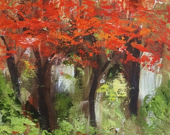 Red maples IV  - signed print