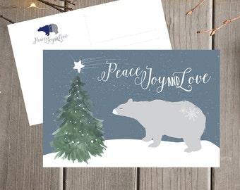 Polar Bear Holiday Postcard Set / Christmas Card Set / Peace, Joy and Love Holiday Postcards