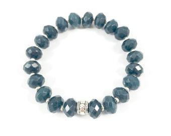 Blue Stone Bracelet, Beaded Gemstone Bracelet, Stretch Beaded Bracelet, Stone Bead Bracelet Minimalist Jewelry Stackable Bracelets for Women