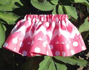 "Hot Pink Chevron and Dots Skirt, ""Medium"" Chevron (baby, toddler, girl, infant, child)"