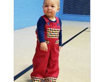 Baby boy & toddler romper/overalls sewing pattern Ollie Overalls sizes 3+months to 4 years, Reversible baby boy overalls pattern