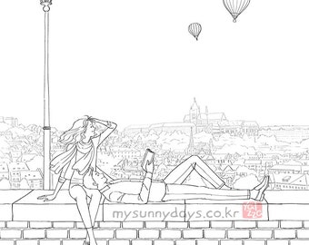 Romantic Coloring Book & Coloring Pages for Adults by Yalzza