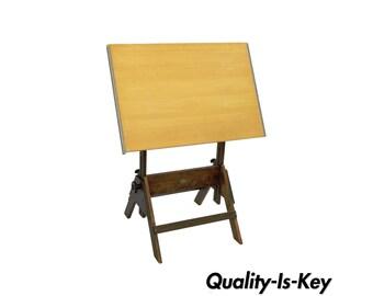 Vintage Anco-Bilt Wooden Adjustable Drafting Table Architect Artist Work Wood Desk