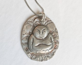 a happy buddha pendant necklace in sterling