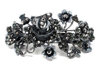Black Flower design crystal hair barrette clip bridal clip bridal barrette
