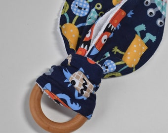 CLOSEOUT/Teething ring, Wooden ring teether, bunny ear teether, baby gift, baby shower