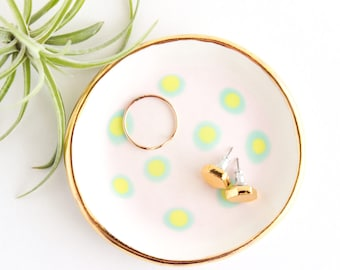 Gold Rimmed Dish, Ceramic Ring Dish, Colorful Trinket Dish, Polka Dot Decor, Jewelry Organizer, Gold Gift, Ring Holder, Jewelry Storage