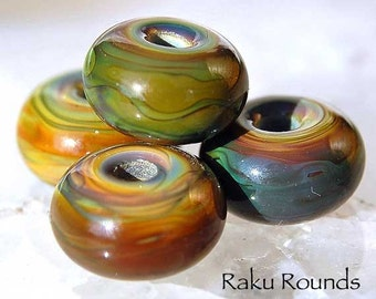 10 Raku Rounds , handmade lampwork beads , earthy green brown colors with blue , spacers by Beadfairy Lampwork, SRA