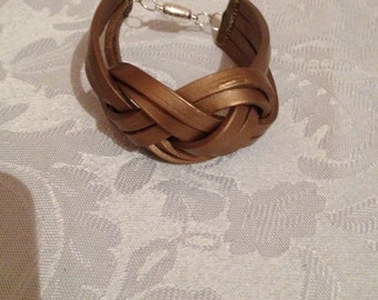 Metallic Gold Leather Bracelet, Gold Leather, Gold Bracelet, Sailors Knot Bracelet, Gold Knotted Bracelet,  Compare to Chan Lu