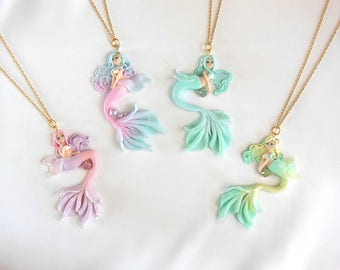 Pastel Little Mermaid Necklace Pendant - Mermaid Jewelry - Kawaii Jewelry - Sweet Lolita Jewelry - Fairy Kei Jewelry - Fashion Accessory