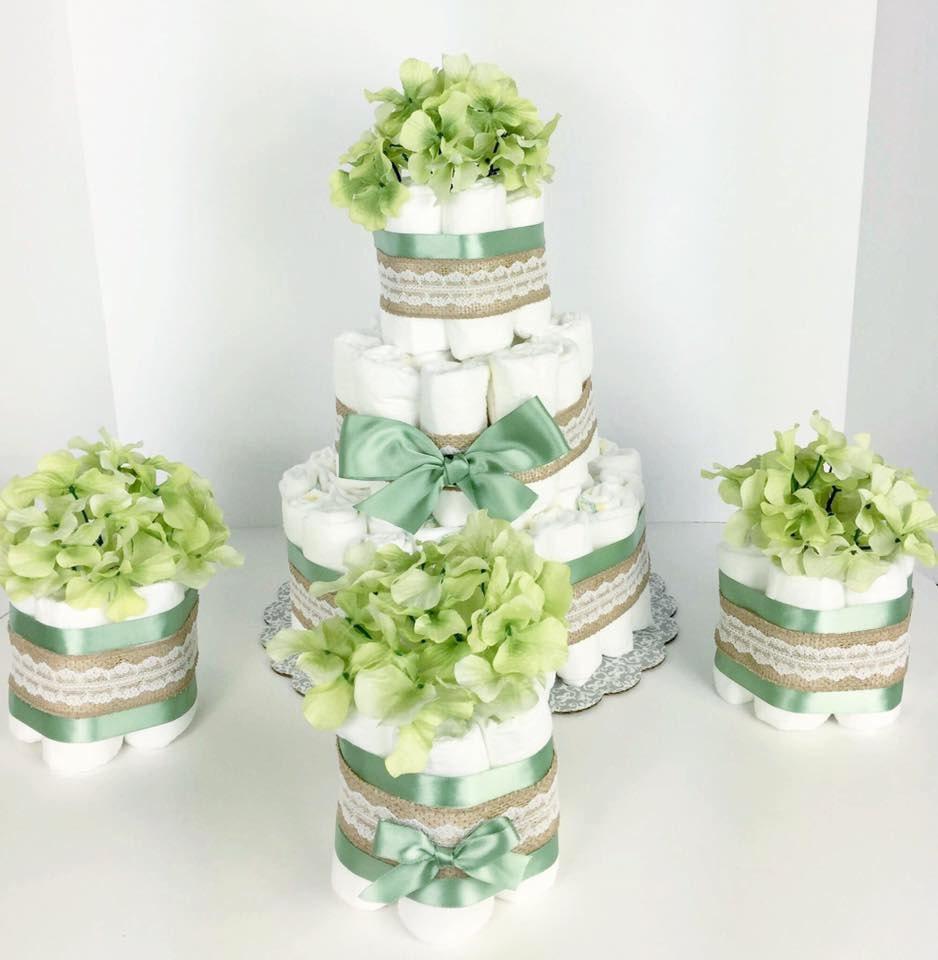 Burlap baby diaper cake, Burlap Diaper Cakes, Pretty Diaper ...