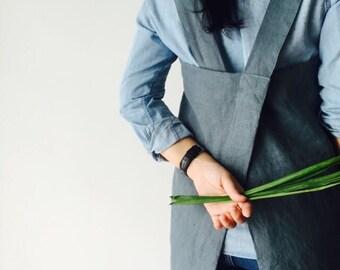 SALE! Linen Pinafore Apron - Heavyweight 100% Flax Linen, Japanese Apron, Crossback Apron, Linen Pinafore Apron, No tie apron, Square Cross