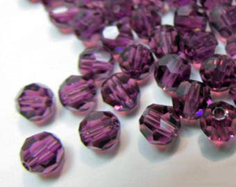Purple Amethyst 4mm Swarovski Crystal Faceted #5000 Round Jewelry Beads (20)