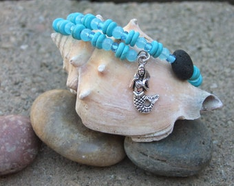 Memory wire bracelet~Teal beads~Lava beads~essential oils~mermaid charm~perfect gift