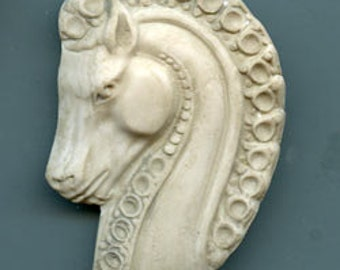 Polymer Clay Faux Marble Art Decco Horse Head   Cab Textured and Highlighted ADHM 1