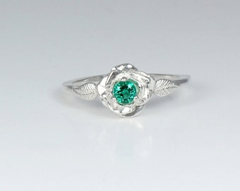 Genuine Emerald Ring Sterling Silver /  Emerald Silver Ring