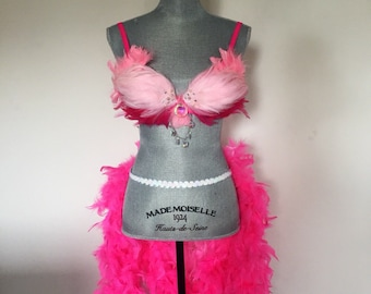 Women's pink flamingo showgirl feather costume set - Made to order