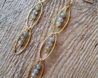 Labradorite with raw brass oval link earrings