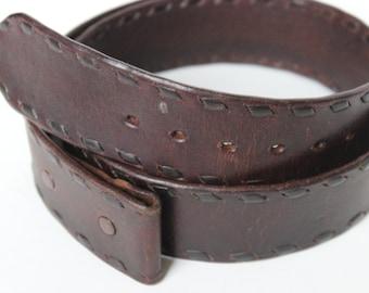 Vintage Belt Brown Whip Stitched Leather 38