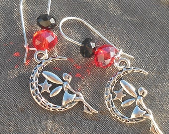 Fairy in red and Black Moon earrings